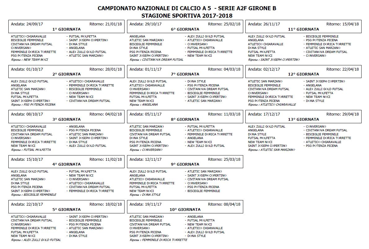 Calendario Serie B Femminile.Calendari Calcio A 5 Esordio Casalingo Con Il Saint Joseph