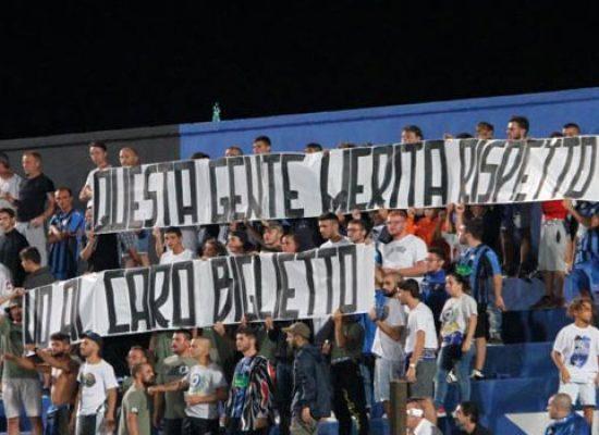 Bisceglie Calcio, ultras da domani in sciopero contro i prezzi dei biglietti al Ventura