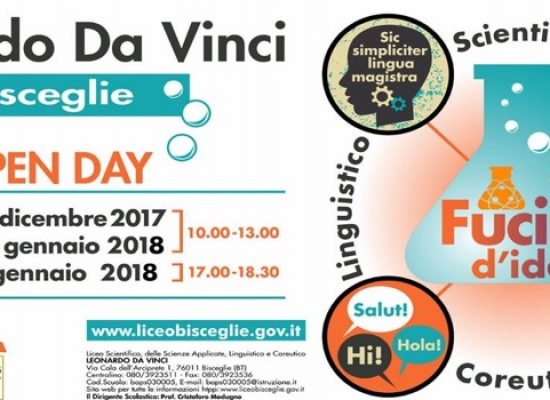 """Il Liceo """"da Vinci"""" apre ai nuovi studenti con """"open days"""" e laboratori pomeridiani"""