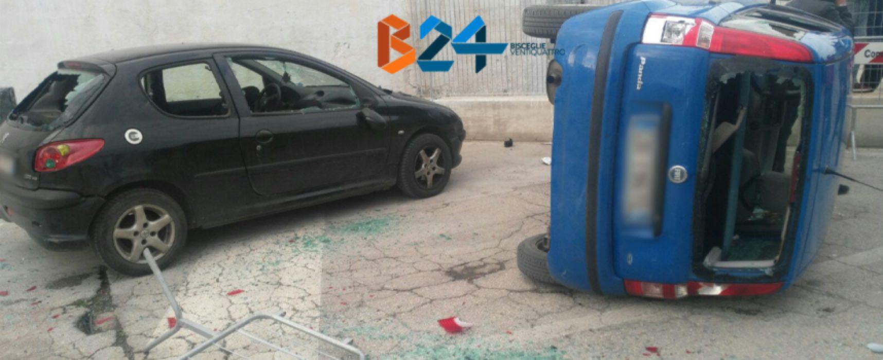 """Due auto distrutte fuori allo stadio """"Ventura"""" durante Unione Calcio-Molfetta"""