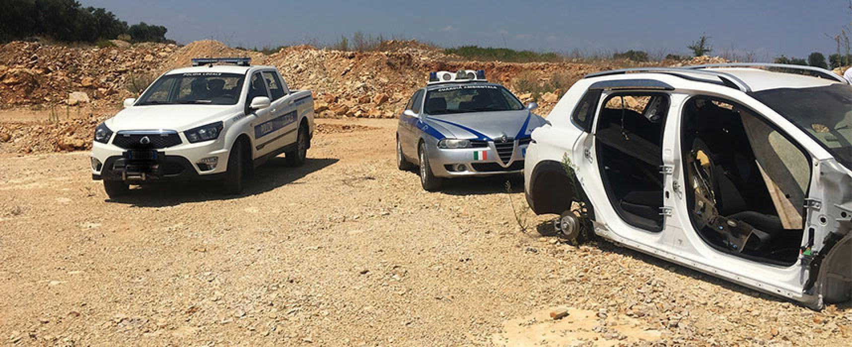 Auto cannibalizzata ritrovata dalle guardie ambientali in zona Palombe