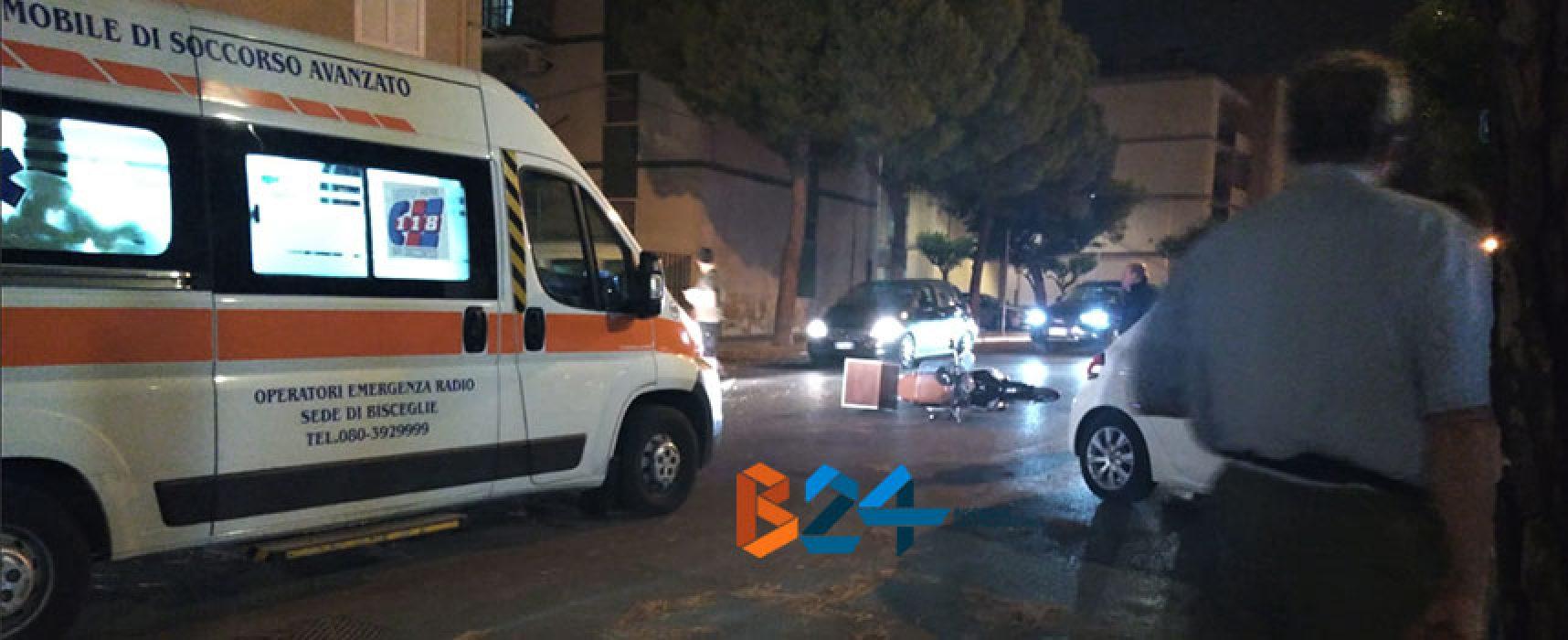 Scontro auto-scooter in via Luigi Papagni, fattorino biscegliese al pronto soccorso