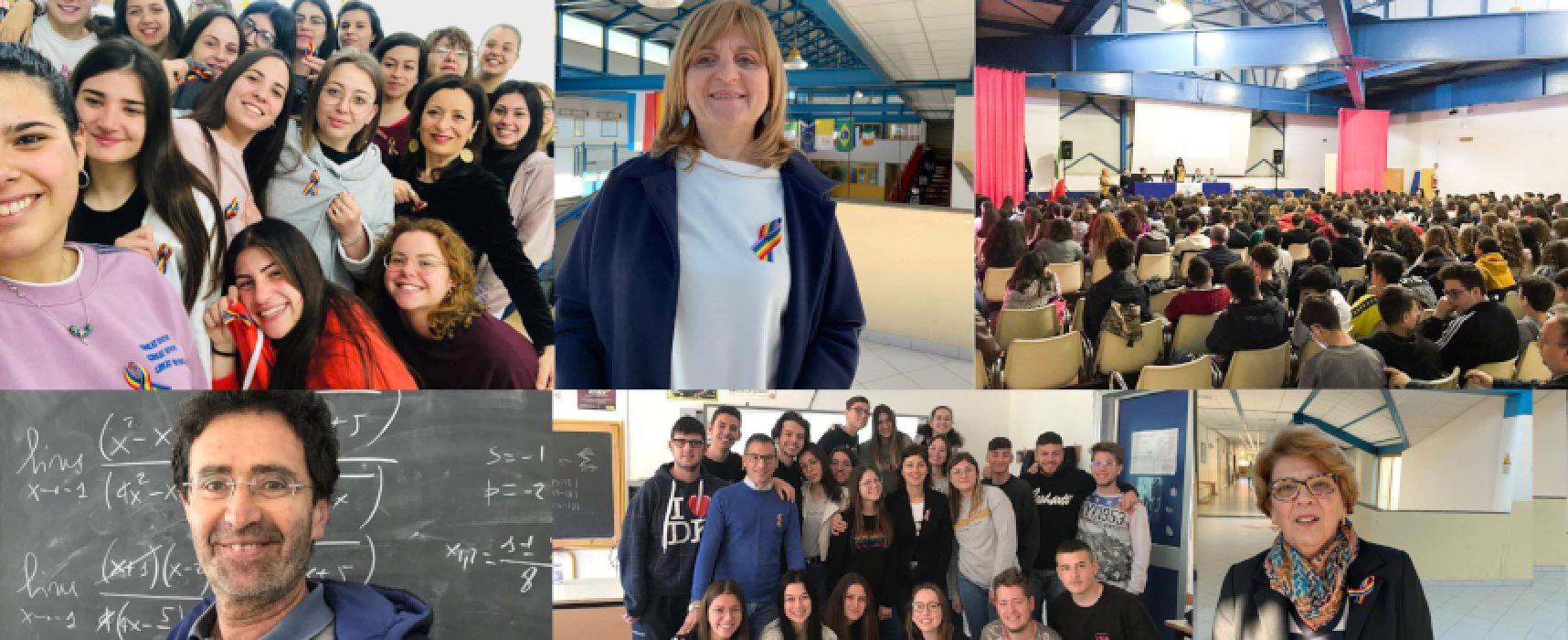 """Giornata contro omo-bi-transfobia, insegnanti e alunni del """"Dell'Olio"""" in prima linea"""