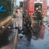 Motociclo si incendia durante l'andatura, paura per un 35enne