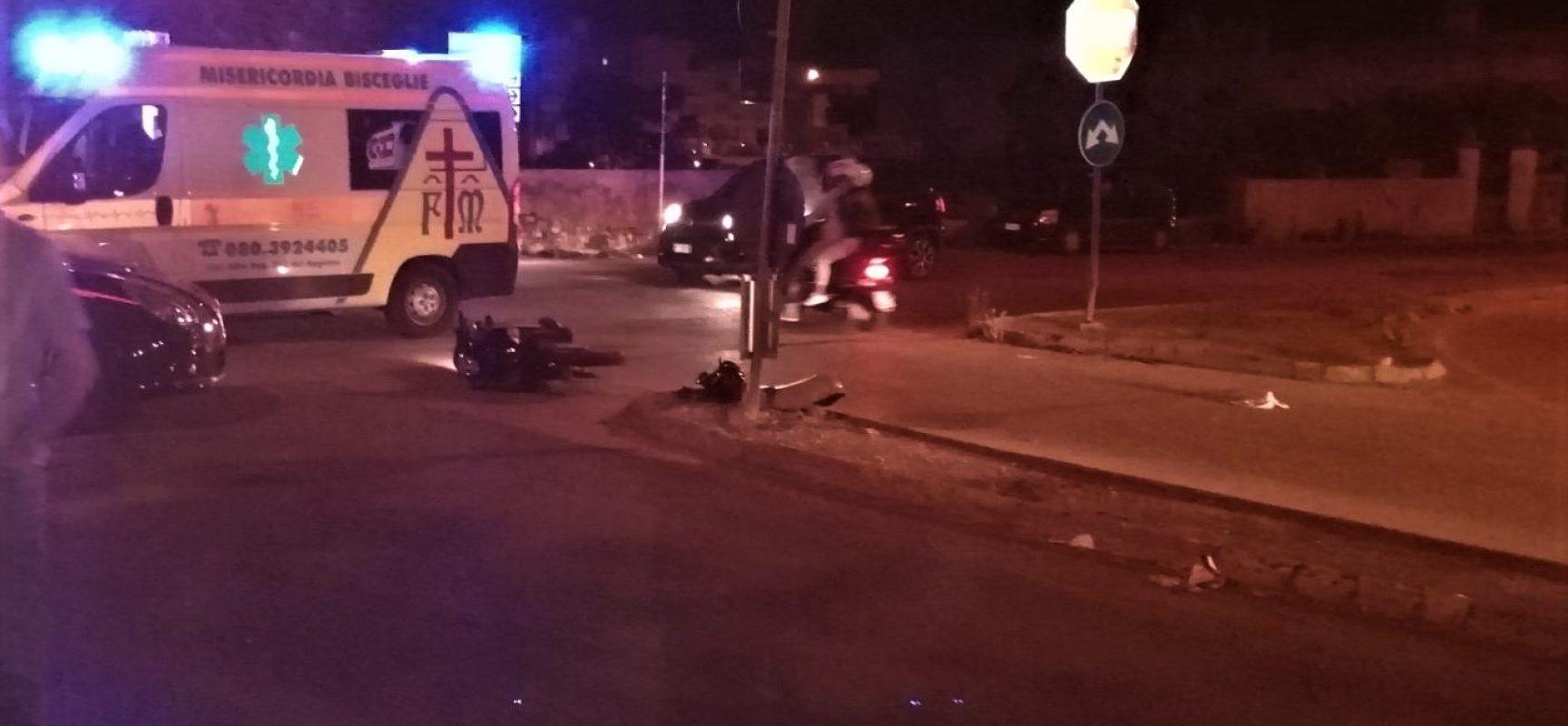 Diciassettenne cade con scooter in via Vecchia Corato, trasportato in codice rosso in Ospedale