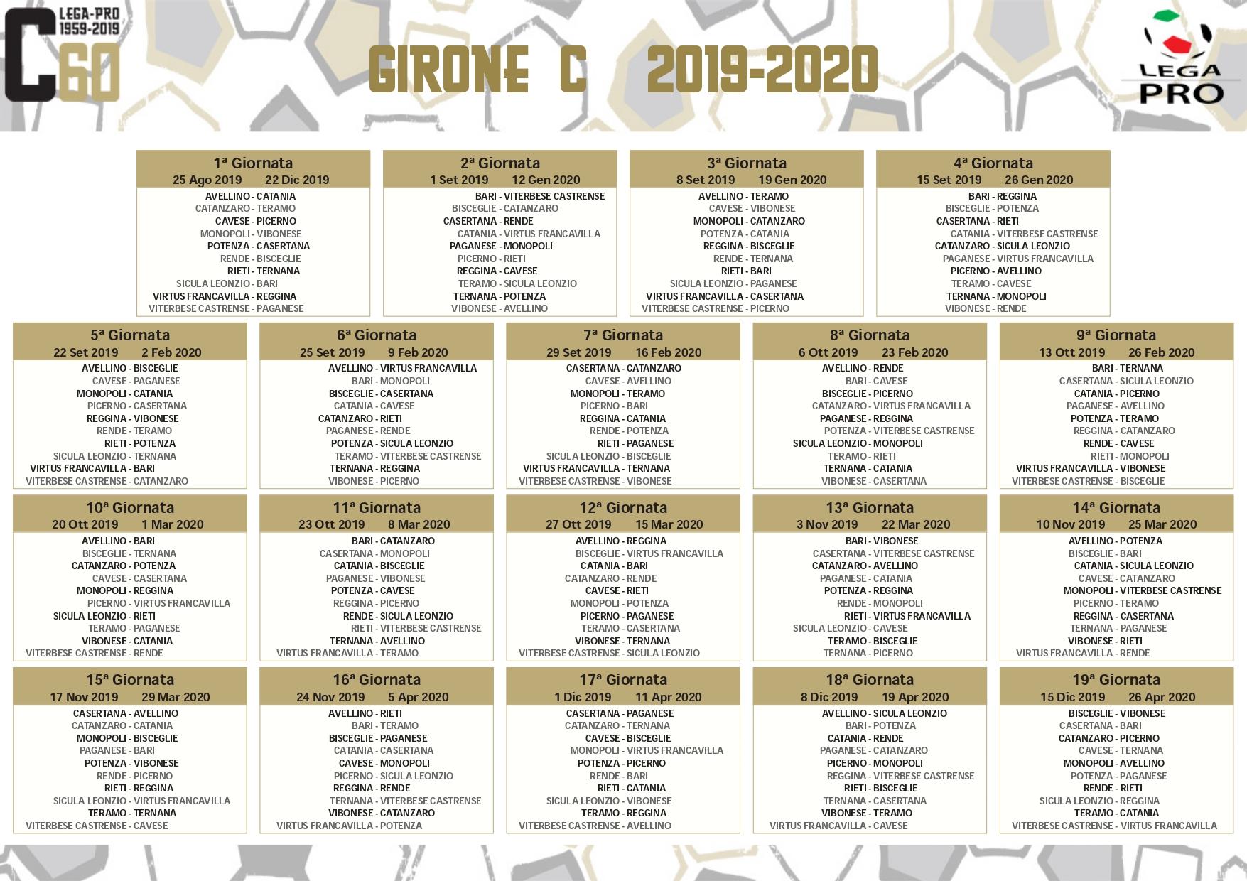 Novembre 2020 Calendario.Calendari C Bisceglie Calcio Debutto Esterno Contro Rende