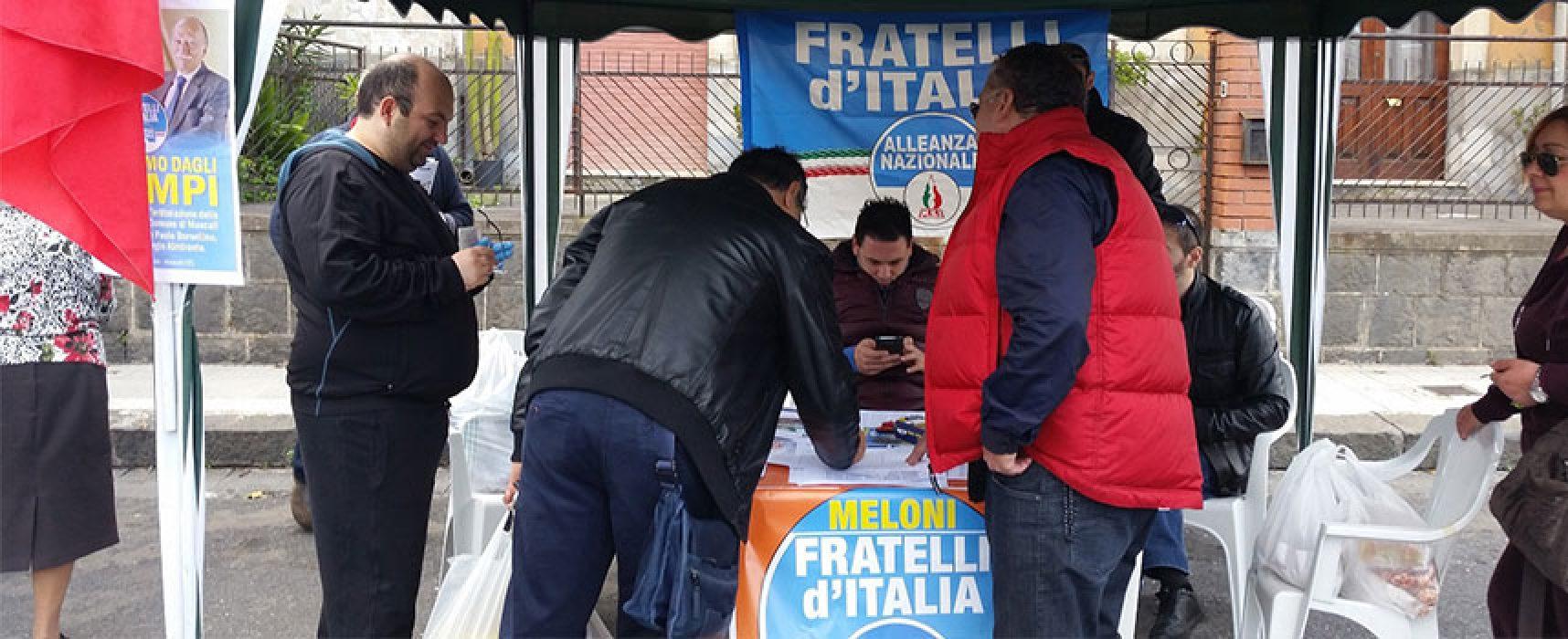 Campagna raccolta firme della sezione biscegliese Fratelli d'Italia su proposte Giorgia Meloni