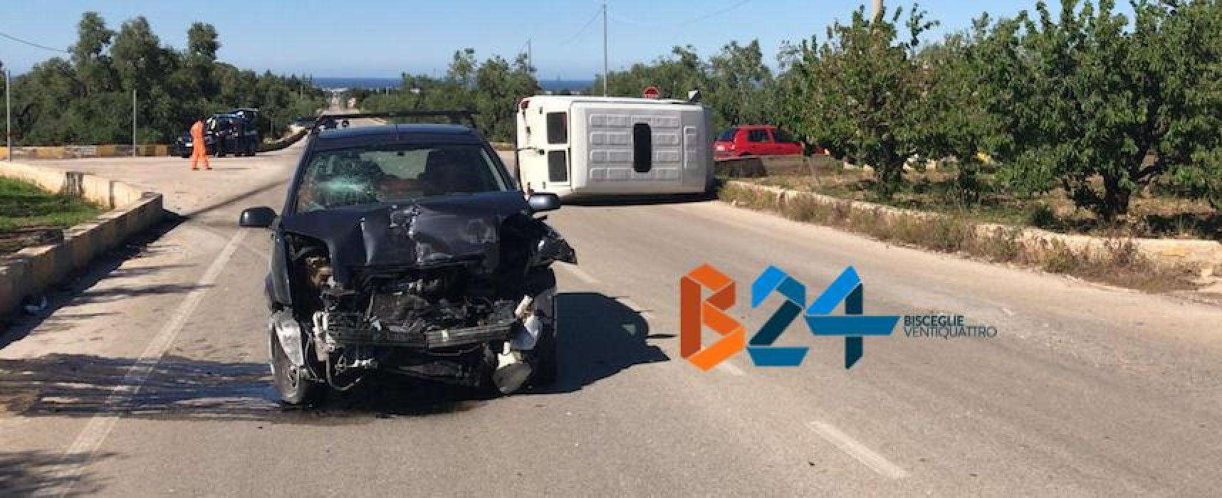 Scontro tra auto e furgone sulla Strada Provinciale 85