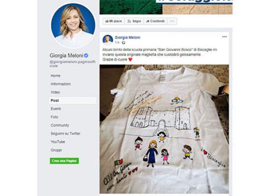 Giorgia Meloni ringrazia su Facebook alunni e docenti biscegliesi per maglia dono