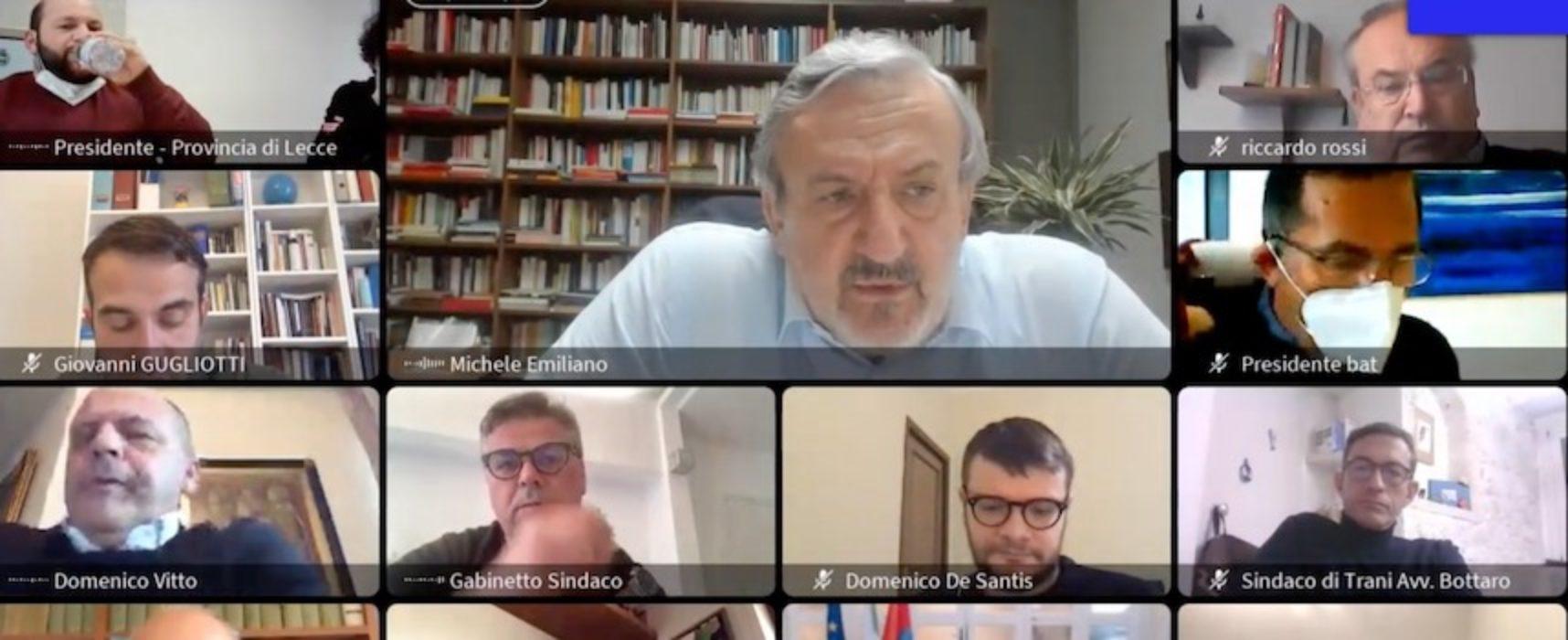 """Emiliano ai sindaci: """"Smart working ovunque possibile, picco non ancora raggiunto"""""""