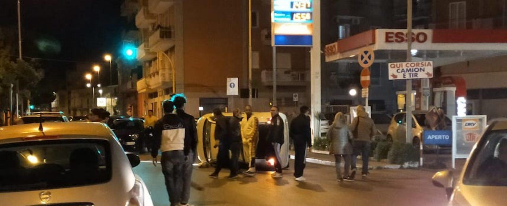 Auto ribaltata in via Imbriani, giovane biscegliese si scontra con veicolo parcheggiato