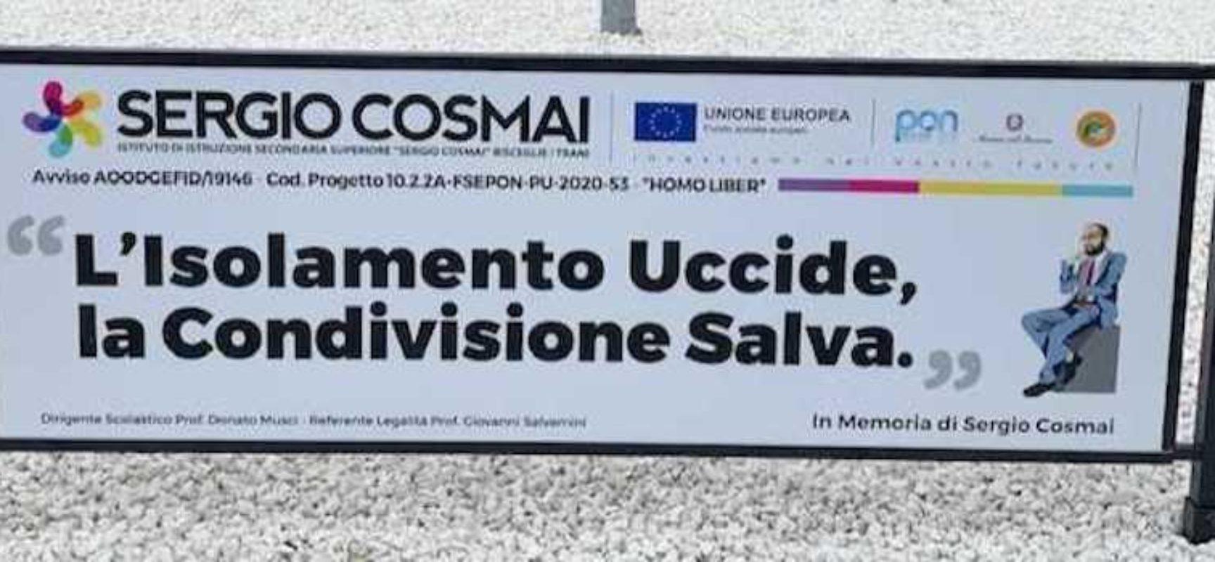 """Domani Iiss """"Cosmai"""" inaugura """"Isola della legalità"""": rotonda di via Giuliani cambia volto"""