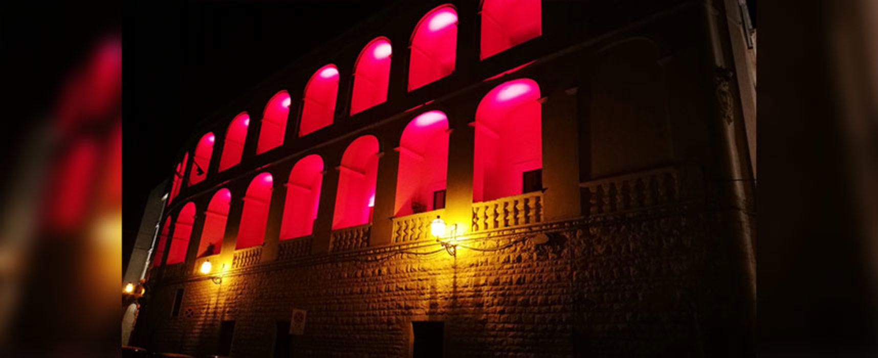 Palazzo San Domenico illuminato di rosso per Giornata donazione e trapianto organi