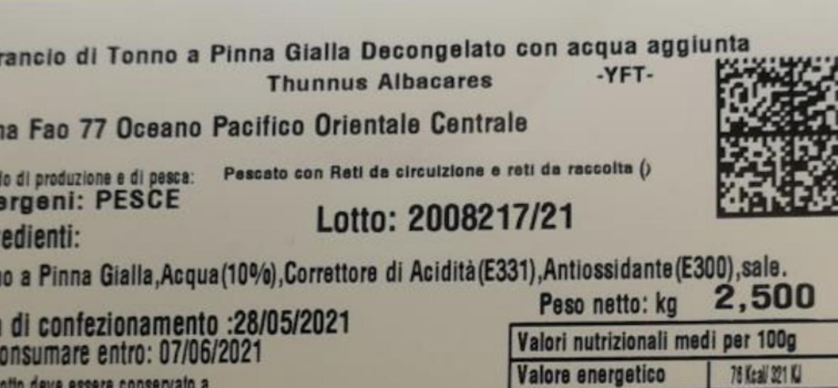 Ministero della Salute richiama lotto di tonno sottovuoto prodotto a Bisceglie